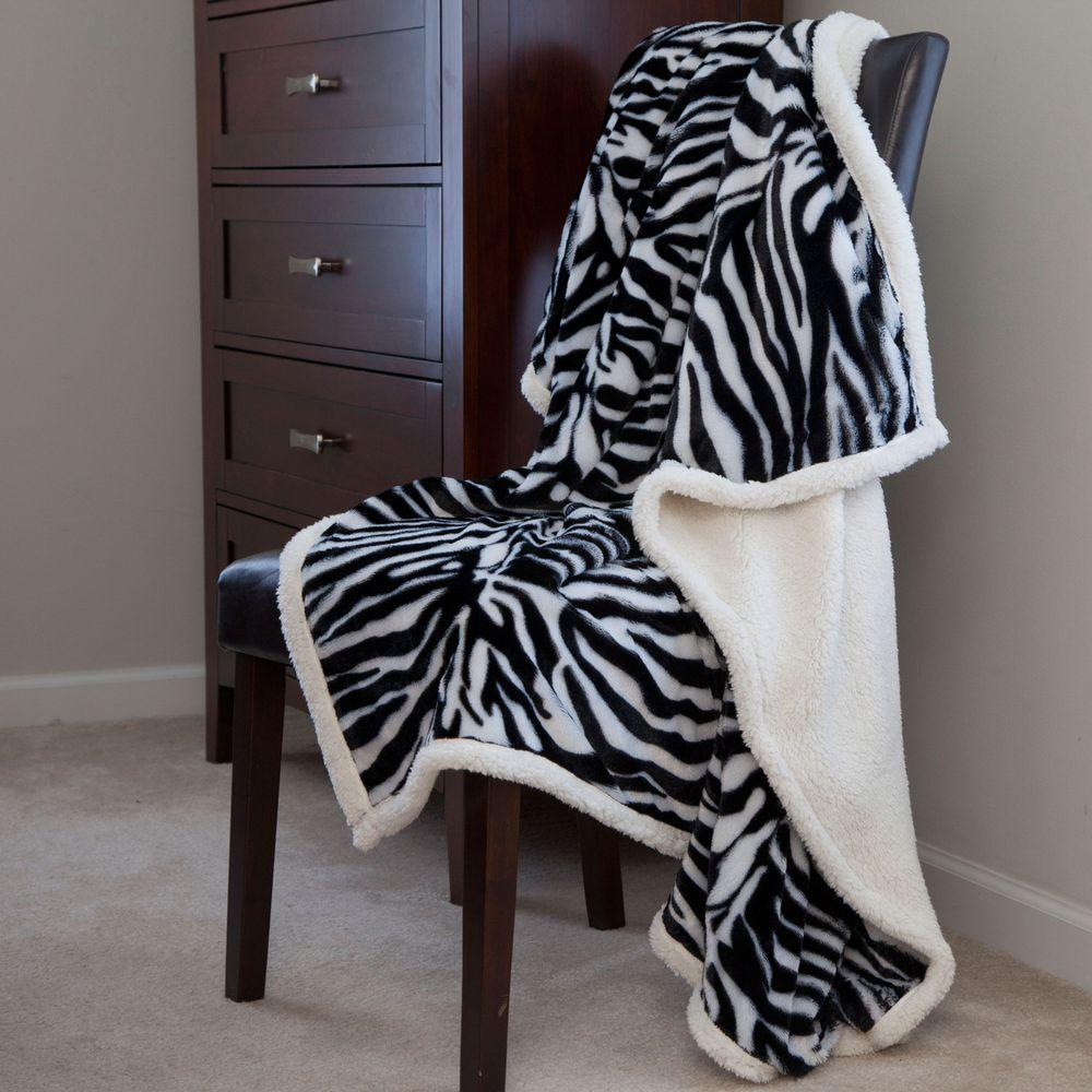 Lavish Home Zebra Fleece Sherpa Polyester Throw Blanket