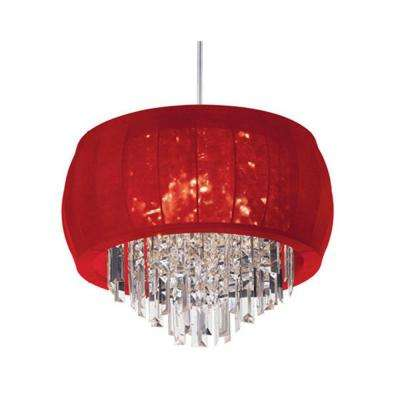 Catherine 4 Light Halogen Polished Chrome Chandelier with Red Lycra Shades