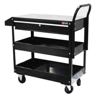 36.8 in. W x 15.6 in. D x 37.6 in. H Each Steel Tool Cart in Black