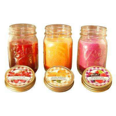 Jams and Jelly Collection 12 oz. Mason Jar Scented Candles (3-Pack)