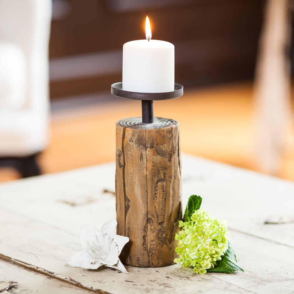 Cabin Candleholder on Log