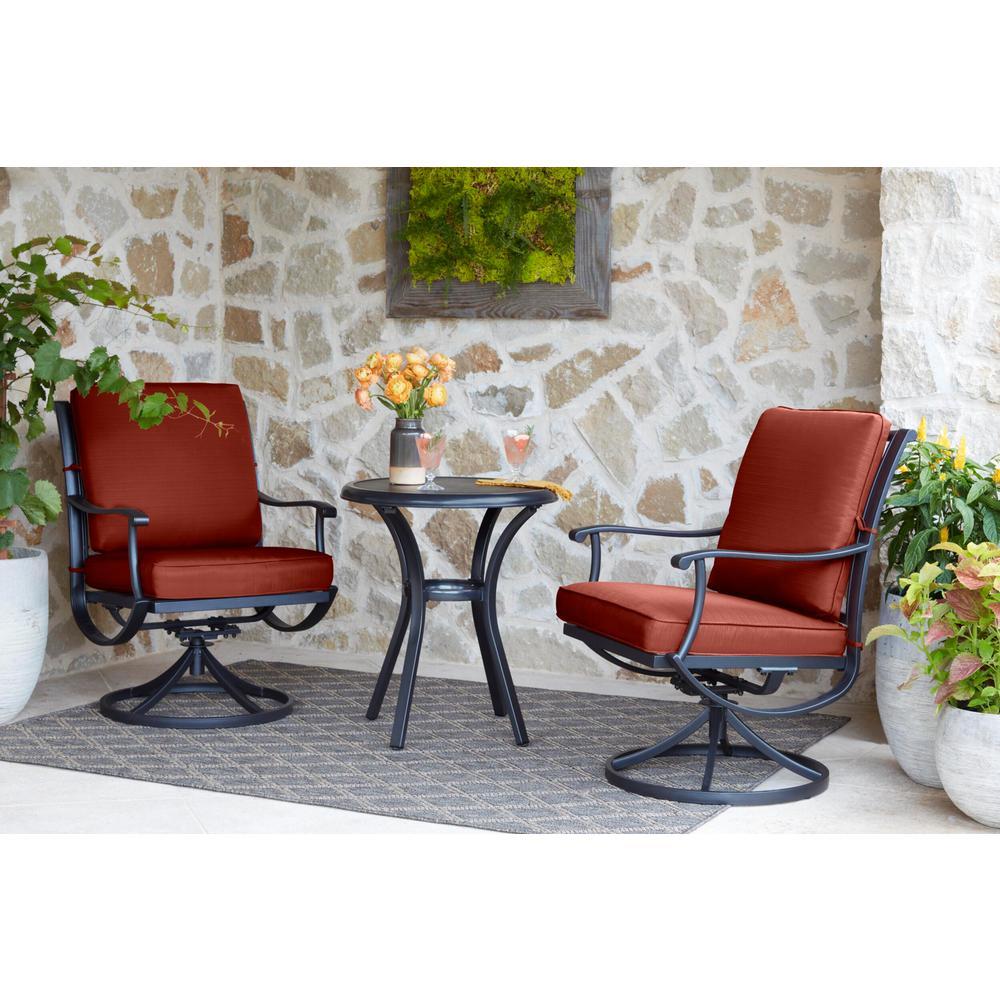 Redwood Valley Black 3-Piece Steel Outdoor Patio Bistro Set with Sunbrella Henna Red Cushions