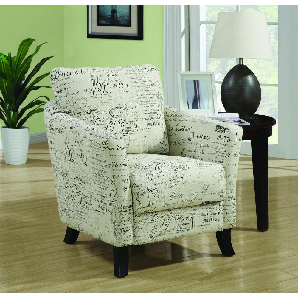 Monarch Specialties White Fabric Arm Chair-I 8007 - The Home Depot