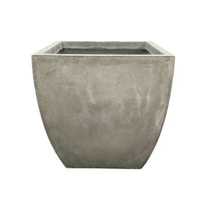 Small 10.6 in. x 10.6 in. x 10.6 in. Light Gray Lightweight Concrete Flared Square Planter