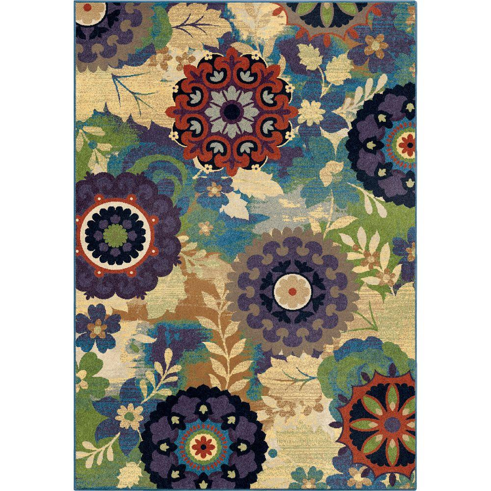 Orian Rugs Reckless Medallion Aqua 5 Ft. X 8 Ft. Indoor