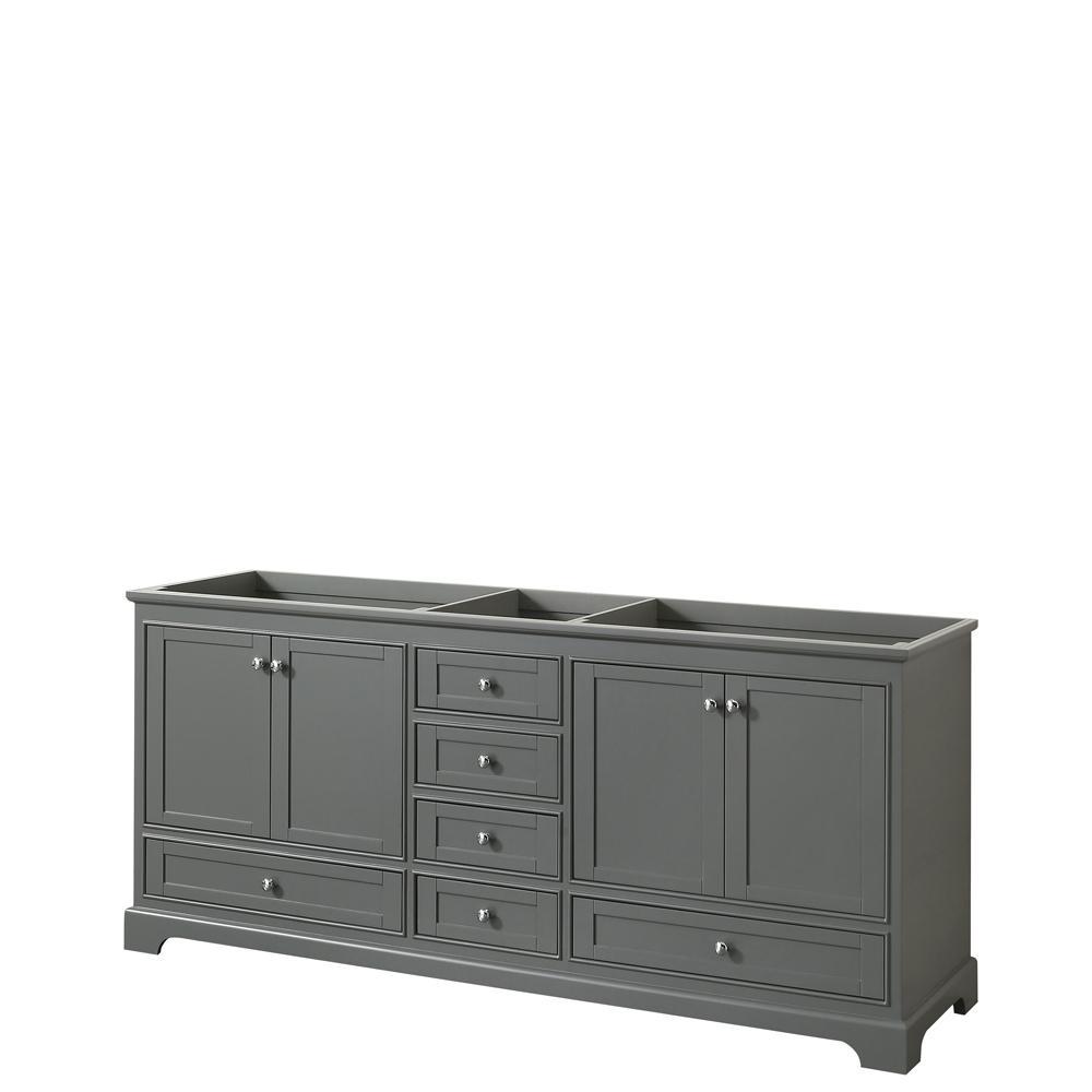 Deborah 79 in. W x 21.625 in. D Vanity Cabinet in Dark Gray