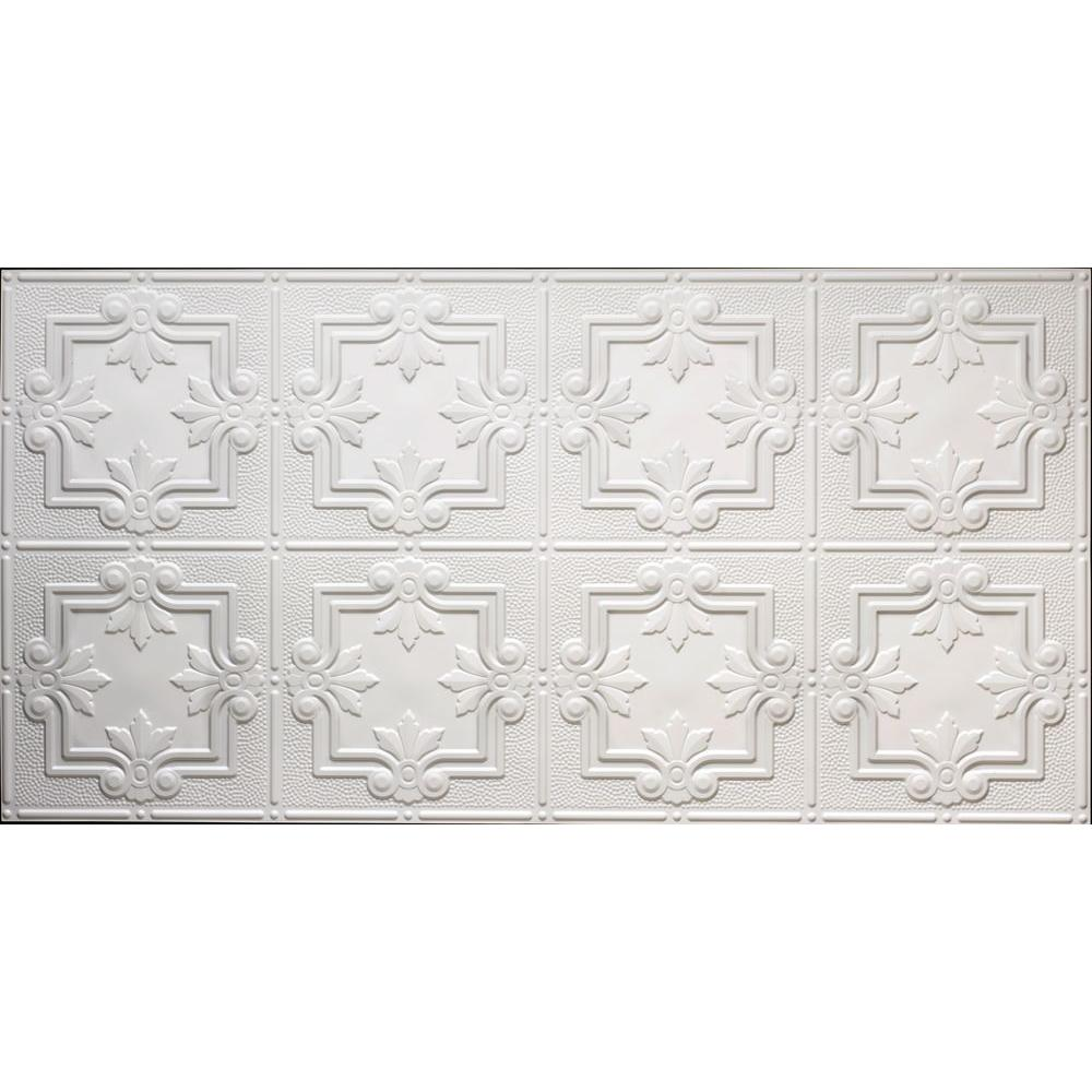 Global Specialty Products Dimensions 2 ft. x 4 ft. Glue Up Tin Ceiling Tile in Matte White