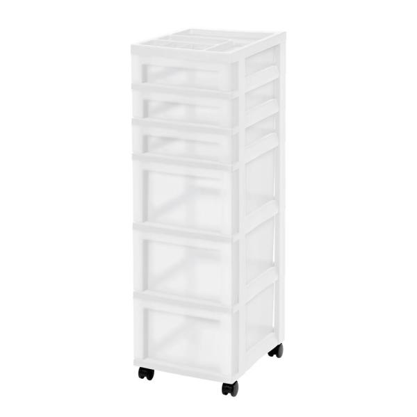 14.25 in. L x 12.05 in. W x 22.25 in. H 6-Drawer Storage Cart with Organizer Top in White and Pearl