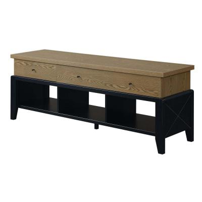 Newport 16 in. Black Engineered Wood TV Stand with 3 Drawer Fits TVs Up to 60 in. with Cable Management