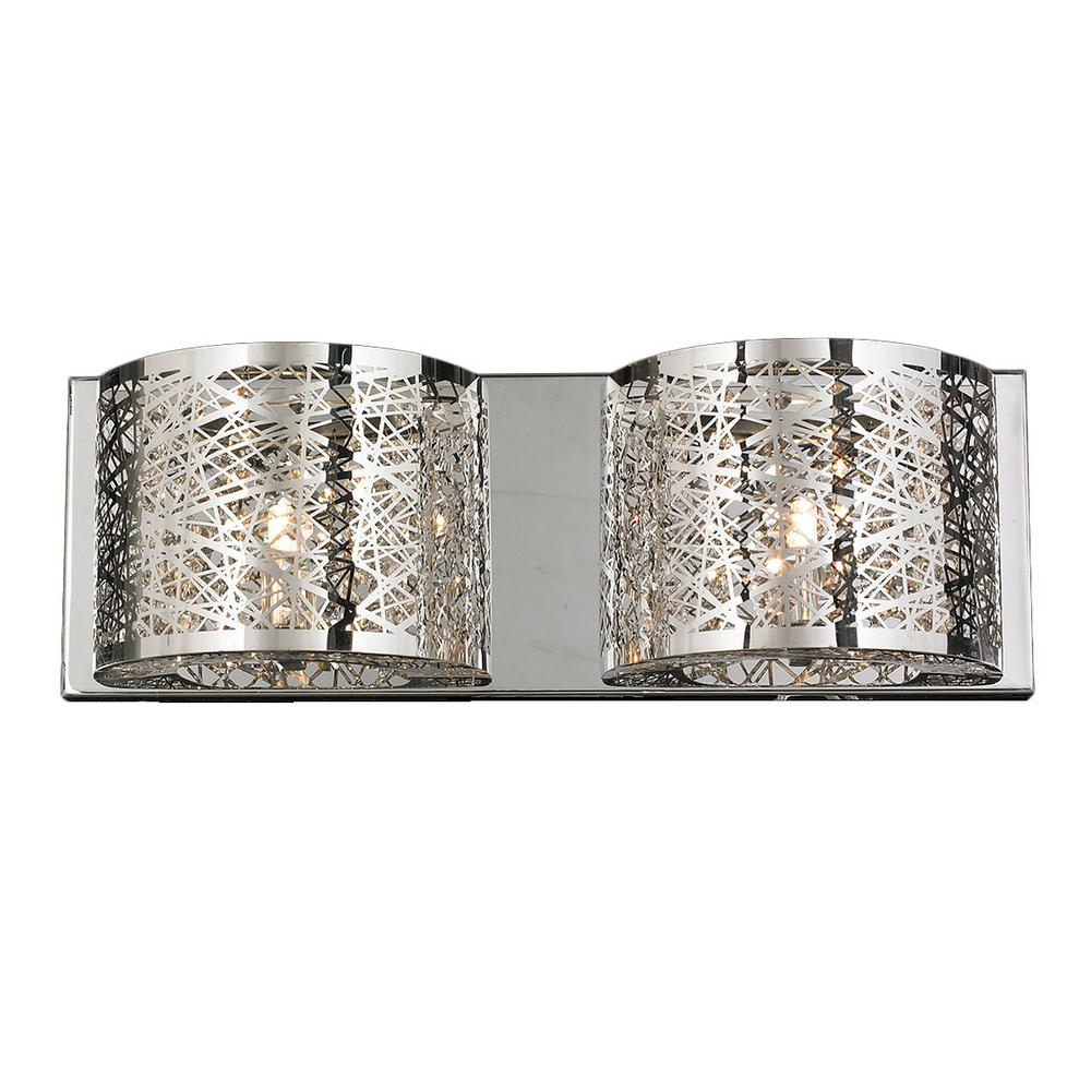 Worldwide Lighting Aramis Collection 2-Light Chrome Crystal Sconce