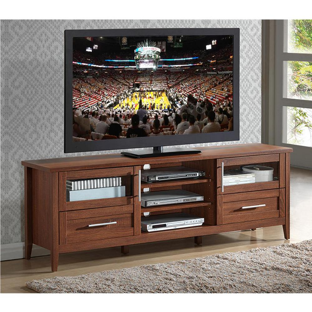 Modern Oak TV Stand with Storage for TV's Up To 75