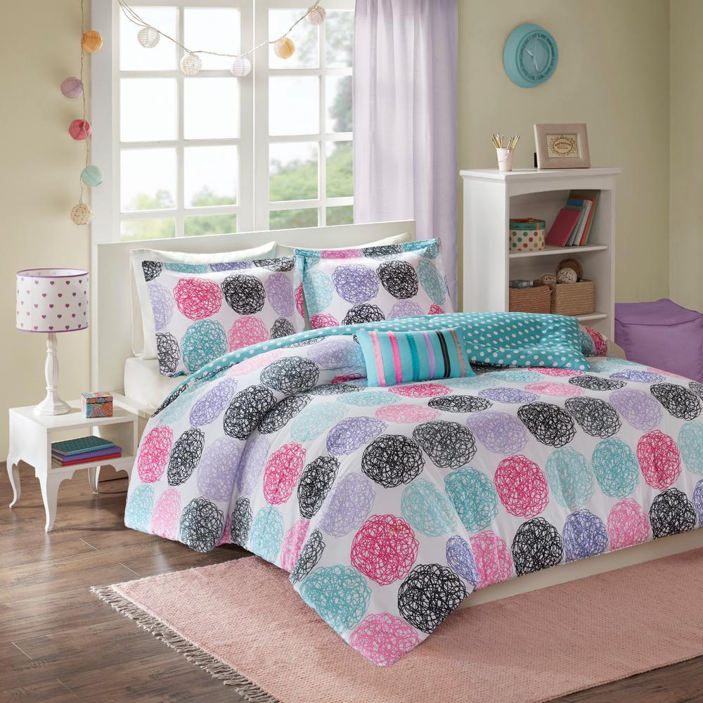 Audrina 3-Piece Purple/Multicolored Twin Comforter Set