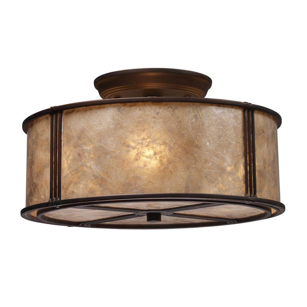 Barringer 3-Light Aged Bronze Ceiling Semi-Flush Mount Light