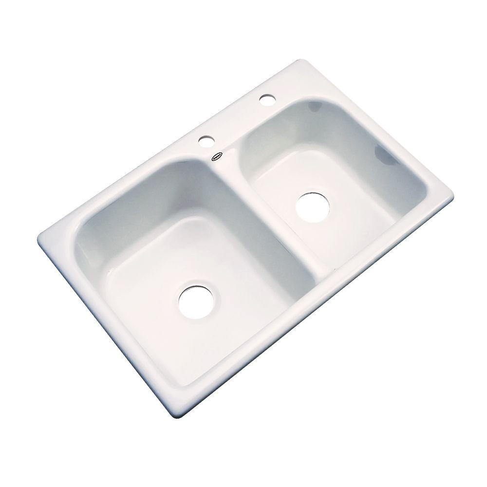Thermocast Cambridge Drop-In Acrylic 33 in. 2-Hole Double Basin Kitchen Sink in Bone