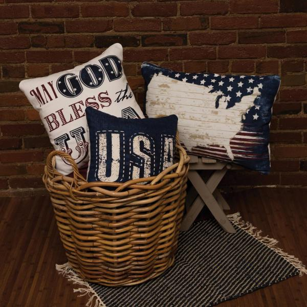 American Spirit Multicolored Plaid 16 in x 6 in Throw Pillow Cover