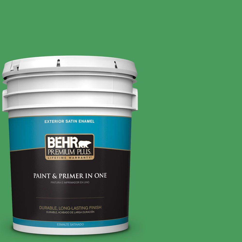 BEHR Premium Plus 5-gal. #P400-6 Clover Patch Satin Enamel Exterior Paint