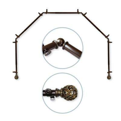 Adora 5 to Sided 13/16 in. Dia Bay Window Single Curtain Rod in Cocoa