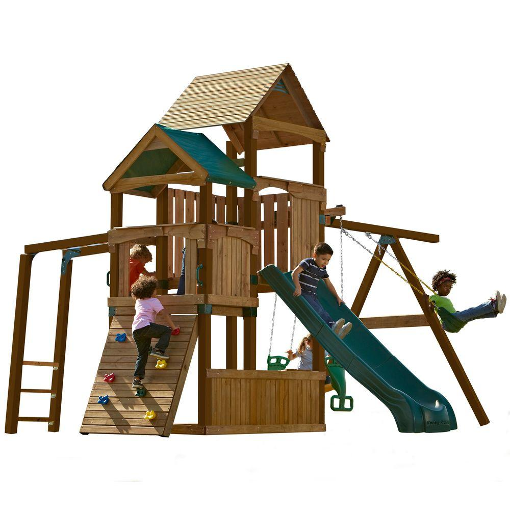 Swing-N-Slide Playsets Sky Tower Play Set with Summit Slide, Add 4x4's