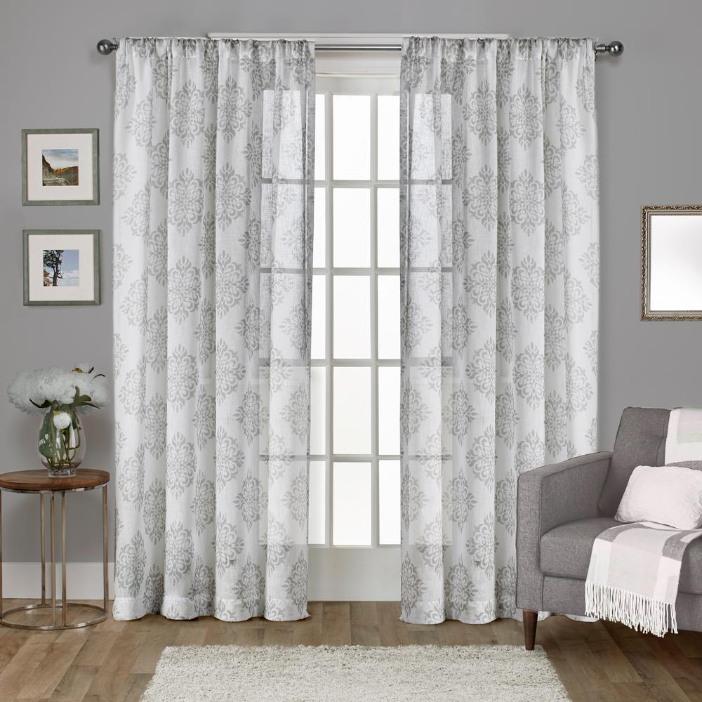 Nagano Dove Grey Medallion Belgian Linen Rod Pocket Top Window ...