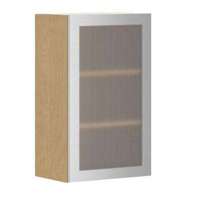 ready to assemble 18x30x125 in copenhagen wall cabinet in maple melamine and glass