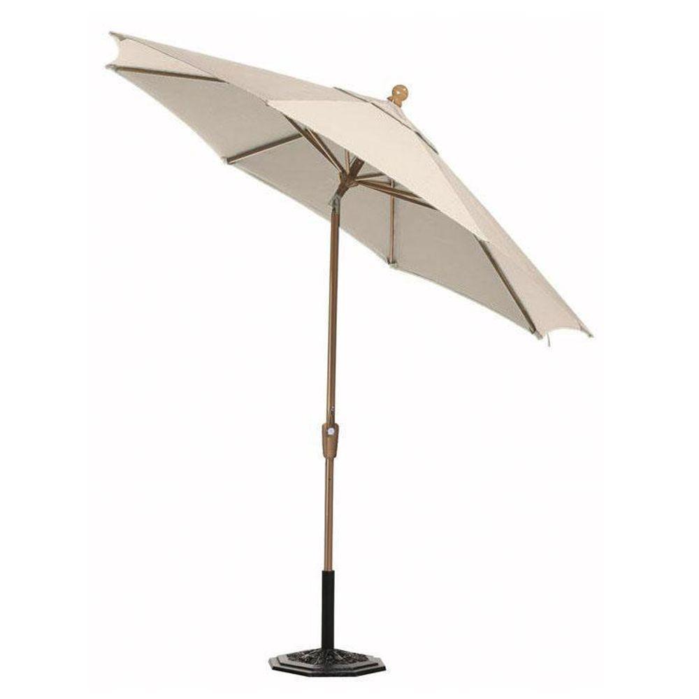 Home Decorators Collection Sunbrella 11 ft. Auto-Tilt Patio Umbrella in Vellum