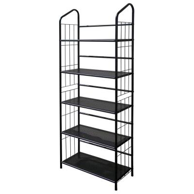 64 in. Black Metal 5-shelf Etagere Bookcase with Open Back