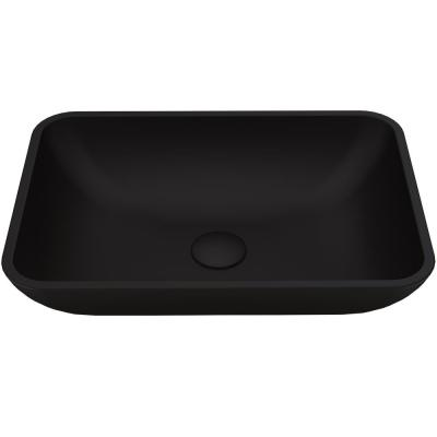 Matte Shell Sottile Glass Rectangular Vessel Bathroom Sink in Black