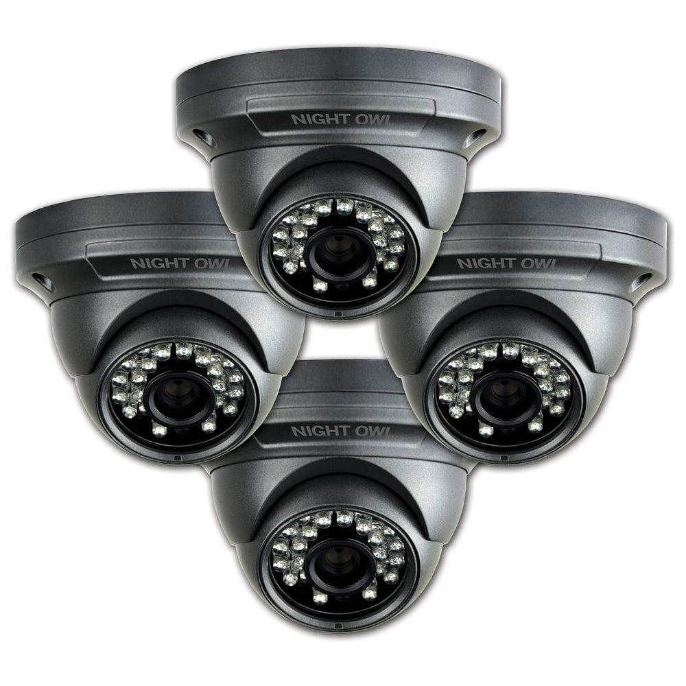 Night Owl Wired Hi-Resolution 700 TVL Indoor/Outdoor Security Dome Cameras with 75 ft. of Night Vision (4-Pack)