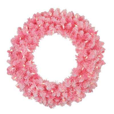 24 in. Pre-Lit Flocked Pink Artificial Christmas Wreath with Clear Lights