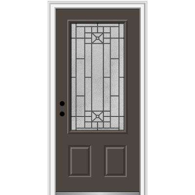 36 in. x 80 in. Courtyard Right-Hand 3/4-Lite Decorative Painted Fiberglass Smooth Prehung Front Door, 6-9/16 in. Frame