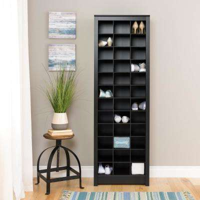 Black Space-Saving 36-Pair Shoe Organizer Storage Cabinet