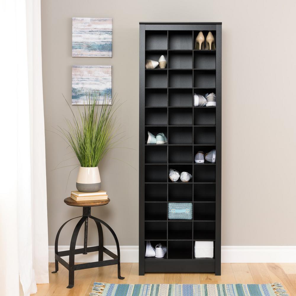 Prepac Black Space-Saving 36-Pair Shoe Organizer Storage Cabinet