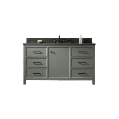 60 in. W x 22 in. D Vanity in Pewter Green with Marble Vanity Top in White with White Basin with Backsplash