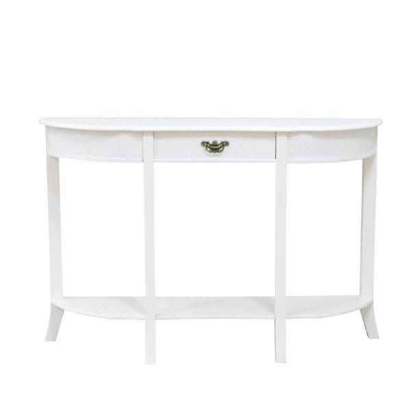 48 in. White Standard Rectangle Wood Console Table with 1-Drawer