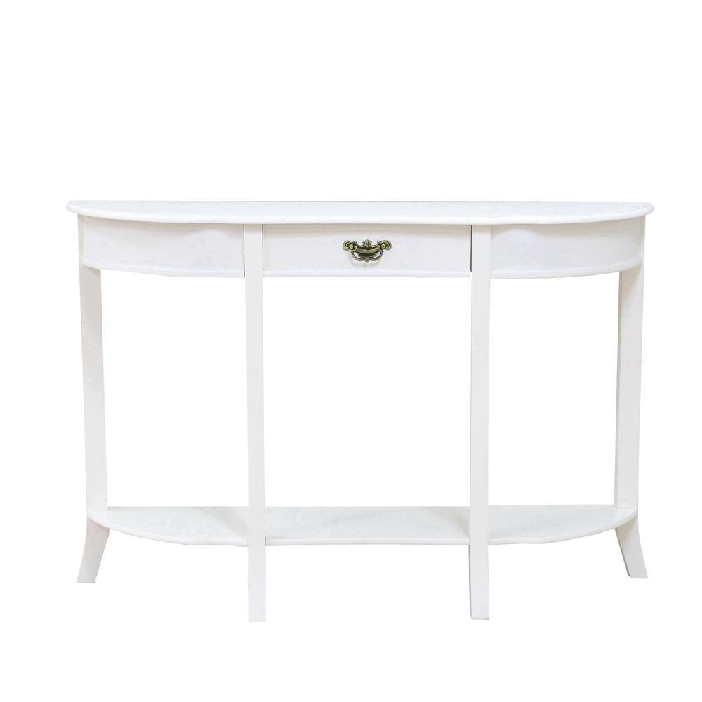 MegaHome White 1 Drawer Hallway Table