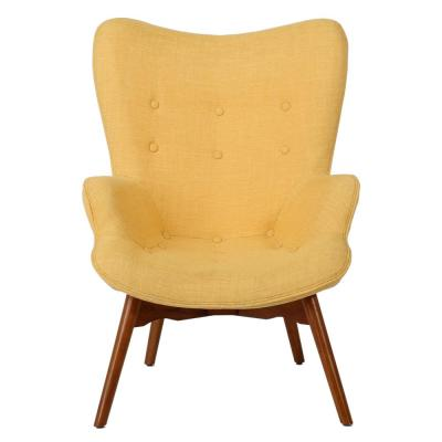 Hariata Button Back Muted Yellow Fabric Contour Chair