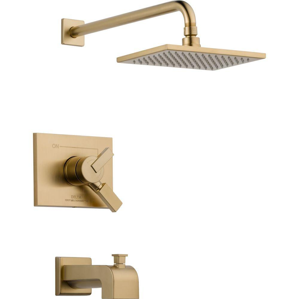 Delta Vero 1-Handle Tub and Shower Faucet Trim Kit in Champagne ...