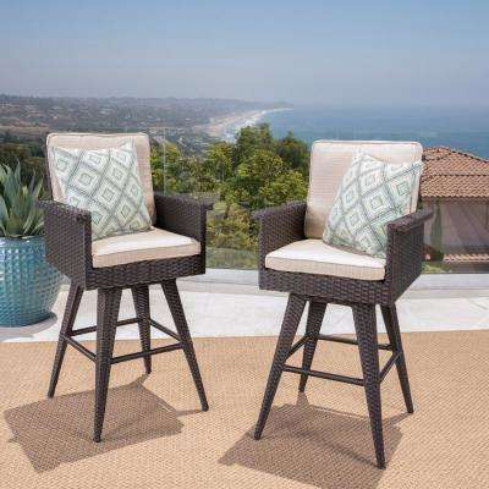 Polyethylene Wicker Outdoor Bar Stools with Sunbrella Sand Cushion (2-Pack)