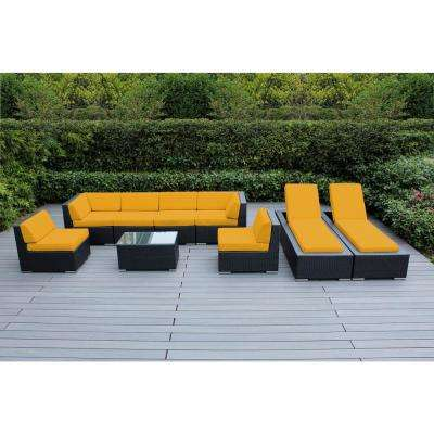 Black 9-Piece Wicker Patio Combo Conversation Set with Sunbrella Sunflower Yellow Cushions