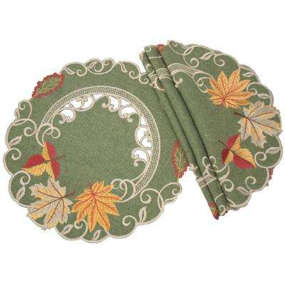 0.1 in. H x 12 in. W Round Delicate Leaves Embroidered Cutwork Fall Doilies (Set of 4)