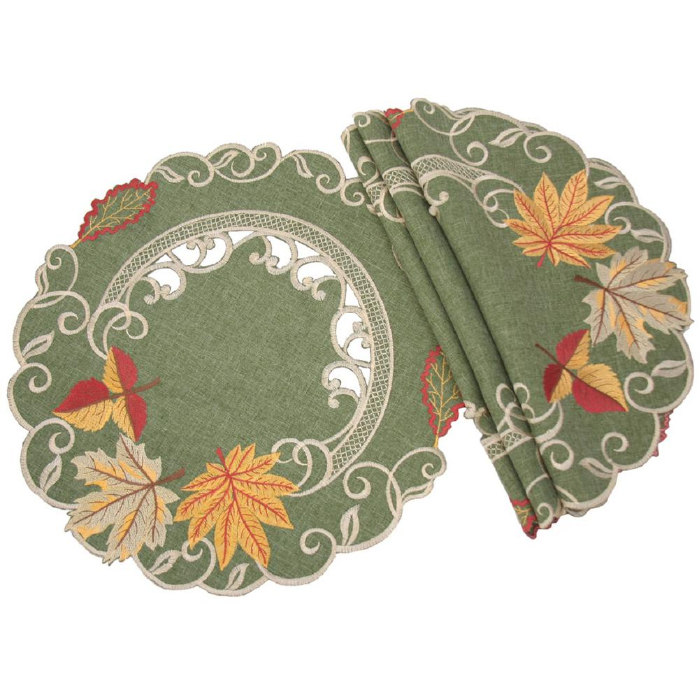 Xia Home Fashions 0.1 in. H x 16 in. W Round Delicate Leaves Embroidered Cutwork Fall Placemats (Set of 4)