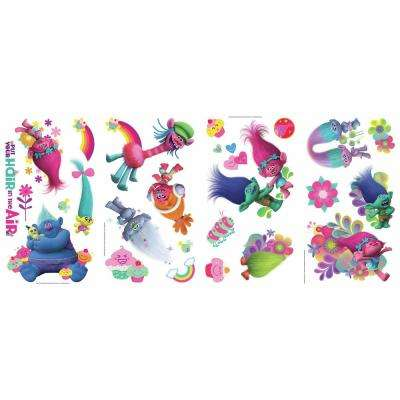 5 in. x 11.5 in. Trolls Movie 24-Piece Peel and Stick Wall Decals