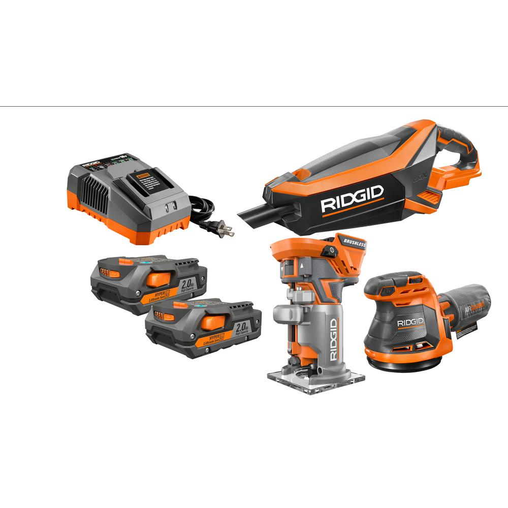 RIDGID 18-Volt GEN5X Cordless Lithium-Ion Combo Kit (3-Tool) with Two 2.0Ah Batteries and Charger