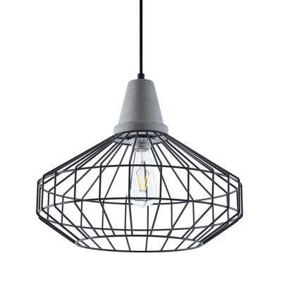 Chimm 3-Light Black with Cement Gray Cage Pendant Set