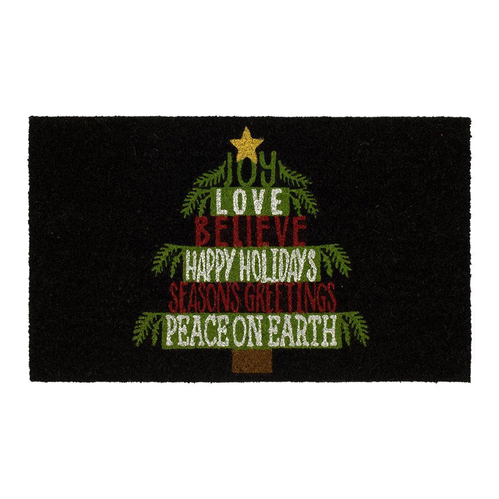 Holiday Tree Words 18 in. x 30 in. Coir Door Mat