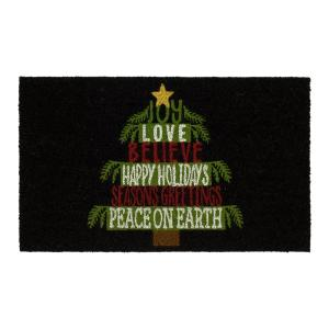 Holiday Tree Words 18 in. x 30 in. Coir Door Mat