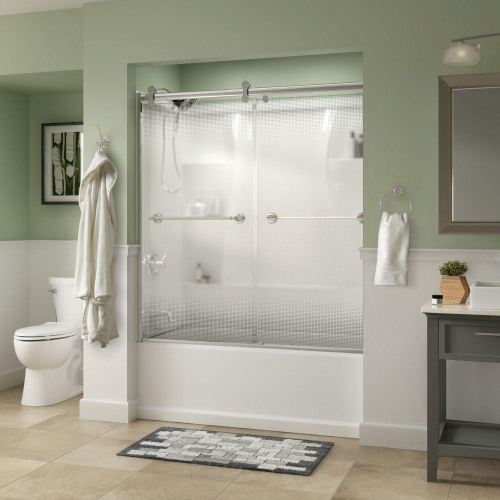 Silverton 60 in. x 58-3/4 in. Semi-Frameless Contemporary Sliding Bathtub Door