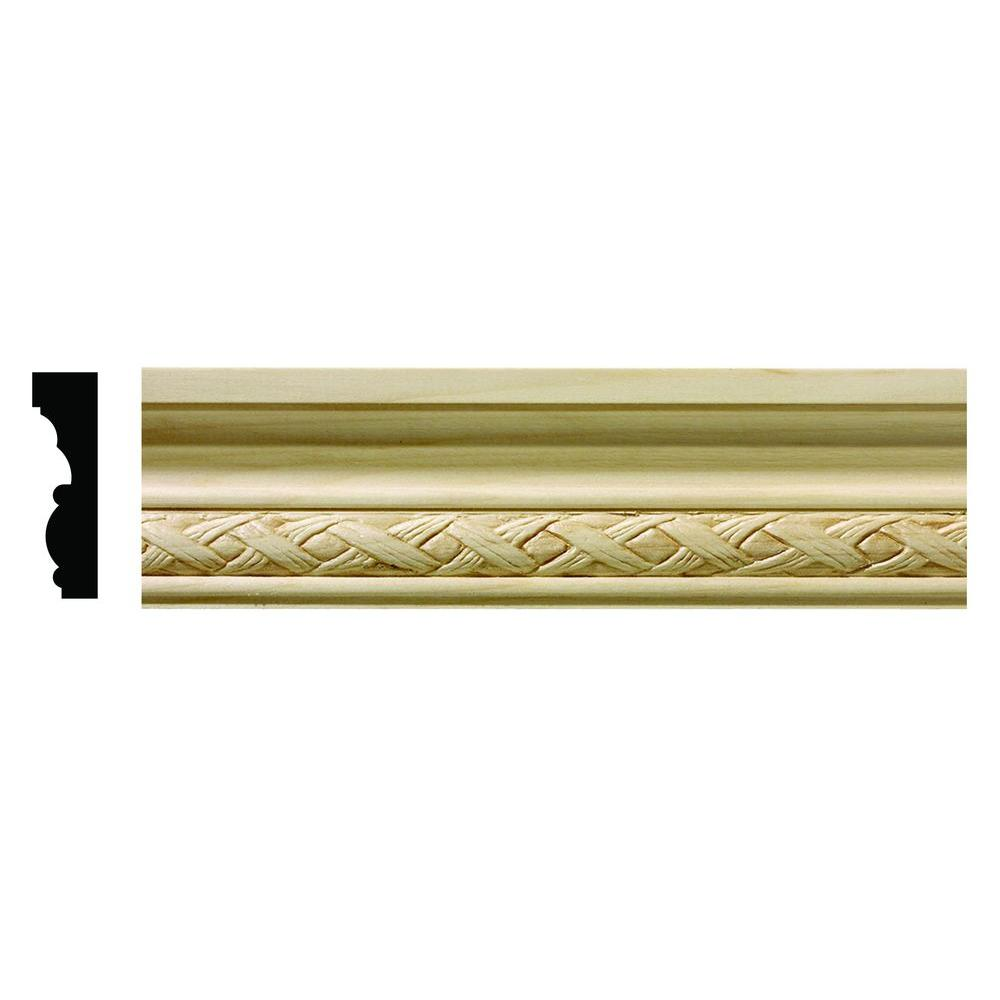 Ornamental Mouldings 1618 1/2 in. x 1-3/4 in. x 6 in. Hardwood White Unfinished Loose Weave Small Chair Rail Moulding Sample