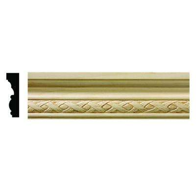1618 1/2 in. x 1-3/4 in. x 6 in. Hardwood White Unfinished Loose Weave Small Chair Rail Moulding Sample