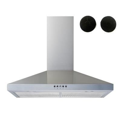30 in. Convertible Wall Mount Range Hood in Stainless Steel with Mesh Filters, Charcoal Filters and Push Button Control